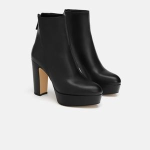 Zara chunky heel platform ankle leather  boots